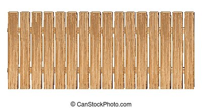 real wooden fence vector on a white background