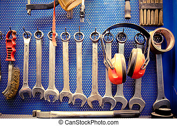Tools in auto repairs shop - Real work environment. Tools in...