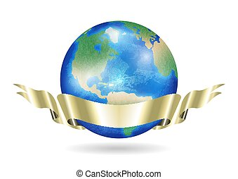 real world earth planet with golden ribbon