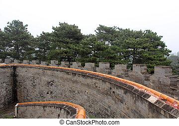 real, zunhua, 2012, pared, oriental, poder, dinastía, zunhua, 13, provincia, qing, paisaje, tumbas, arquitectura, china., ciudad, hebei, 13: