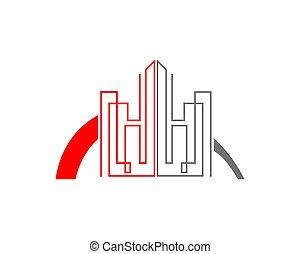 reale, appartamento, proprietà, vettore, grattacielo, logotipo, icona