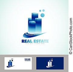 reale, blu, grattacielo, proprietà, logotipo