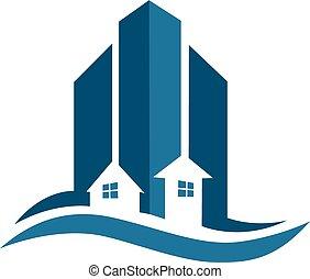 reale, blu, proprietà, scheda, logotipo