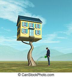 reale, casa, -, proprietà, albero