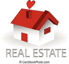 reale, casa, proprietà, logotipo