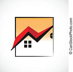 reale, case, incorniciato, proprietà, logotipo