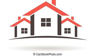 reale, case, logo., proprietà