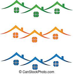 reale, case, proprietà, colorito, logo-
