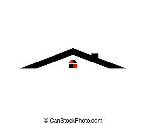 reale, concetto, proprietà, casa, astratto, vettore, disegno, logotipo, sagoma, icona
