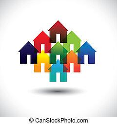 reale, concetto, proprietà, icone affari, case, vettore, colorito
