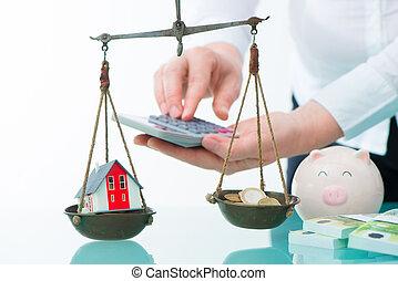 reale, concetto, proprietà, o, risparmi, investimento