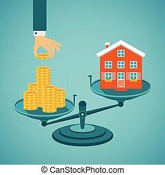 reale, concetto, vettore, investimento, proprietà