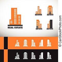 reale, costruzione, grattacielo, proprietà, logotipo