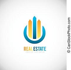 reale, costruzione, proprietà, disegno, grattacielo, logotipo, icona