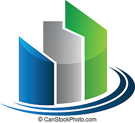reale, costruzioni, proprietà, moderno, vettore, disegno, logotipo, scheda, icona