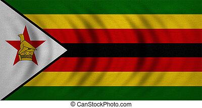 reale, dettagliato, zimbabwe, tessuto, struttura, bandiera, ondulato