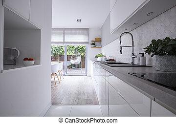 reale, gabinetto, foto, moderno, terrace., luminoso, casa, interno, bianco, cucina