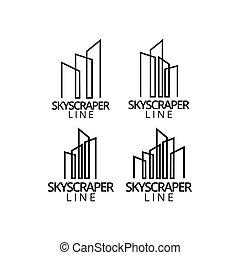reale, grafico, proprietà, disegno, grattacielo, sagoma, logotipo, icona