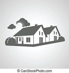reale, gruppo, proprietà, simbolo, silhouette, segno, case, vettore, realty, icona, casa