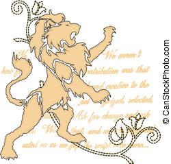 reale, leone, con, rotolo, ornare, emblema