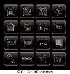 reale, linea, icone, proprietà