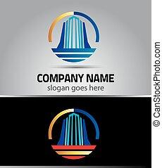 reale, logotipo, grattacielo, proprietà