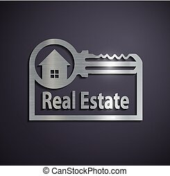 reale, logotipo, metallico, estate., appartamento