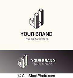 reale, logotipo, moderno, proprietà