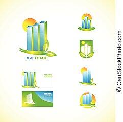 reale, logotipo, set, icona, proprietà