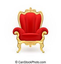 reale, lussuoso, realistico, vettore, trono, sedia, rosso