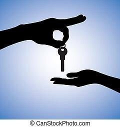reale, market., concetto, proprietà, catena, casa, o, illustrazione, venditore, chiave, acquirente, vendita, titolo portafoglio mano, proprietario, ricevimento, braccio, acquisto, purchaser.
