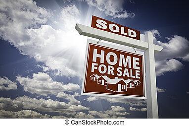 reale, nubi, proprietà, venduto, cielo, segno vendita, casa...