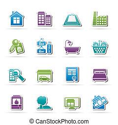 reale, oggetti, proprietà, icone