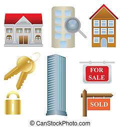 reale, proprietà alloggio, icone