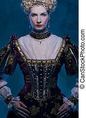 reale, regina, vestire, altero