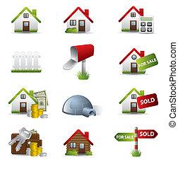 reale, set, proprietà, affari, 3d, icona