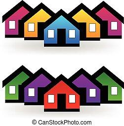 reale, set, proprietà, case, vettore, logotipo
