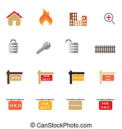 reale, set, proprietà, icona