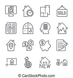 reale, set, proprietà, semplice, relativo, vettore, icons., linea