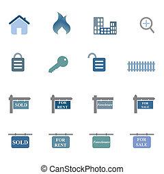 reale, simboli, set, proprietà, icona