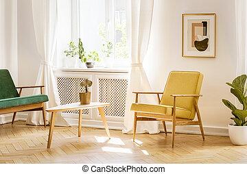 reale, soggiorno, divano, parete, poltrona, soleggiato, finestra, giallo, verde, retro, grande, manifesto, interno, bianco, elegante