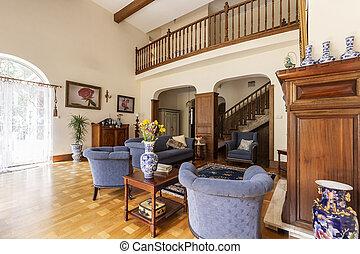 reale, soggiorno, legno, foto, blu, rotaia, elegante, guardia, poltrone, divano, interno, tavola, scale