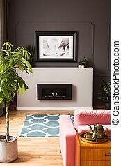 reale, soggiorno, minimalista, legno, foto, moderno, photo., incorniciato, sopra, vibrante, interno, elegante, caminetto, furniture.