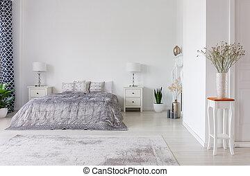 reale, tipo, cuscini, spazio, foto, piumone, letto, disegno, lusso, camera letto, interno, copia, argento, formato