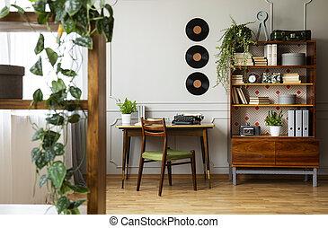 reale, unico, rinnovato, ufficio, legno, moderno, photo., scrivania, libreria, nero, retro, interior., casa, mid-century, sedia, hipster, macchina scrivere