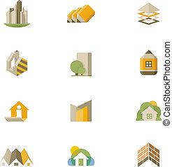 reale, vettore, set, proprietà, icona