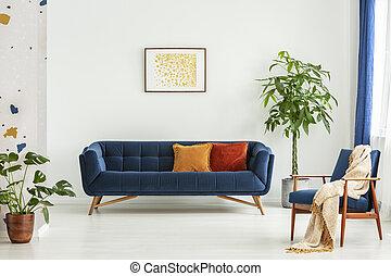reale, vivente, colorito, mid-century, cuscini, divano, coperta, moderno, photo., walls., grande, piante, verde, spazioso, interno, sedia, stanza bianca