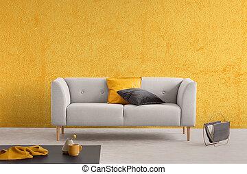 reale, vivente, cuscini, stanza, spazio, parete, foto, struttura, divano, elegante, giallo, elegante, copia