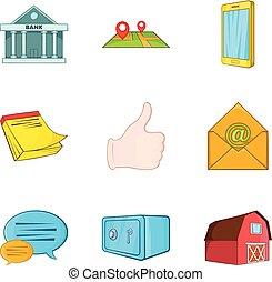 Realestate icons set, cartoon style - Realestate icons set....
