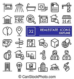 Realestate line icon set, house symbols collection, vector sketches, logo illustrations, rent signs linear pictograms package isolated on white background, eps 10